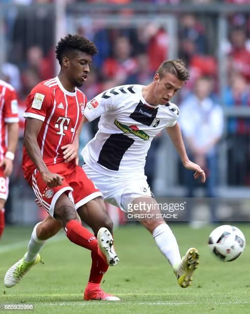 Bayern Munich's French midfielder Kingsley Coman and Freiburg's Serbian defender Aleksandar Ignjovski vie for the ball during the German First...