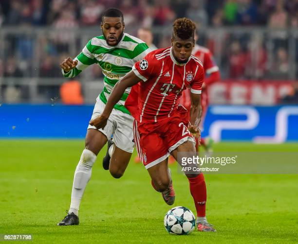 Bayern Munich's French striker Kingsley Coman and Celtic's French midfielder Olivier Ntcham vie for the ball during the Champions League group B...