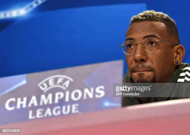 Bayern Munich's German defender Jerome Boateng attends the press conference on the eve of the Champions League group B match between Bayern Munich...
