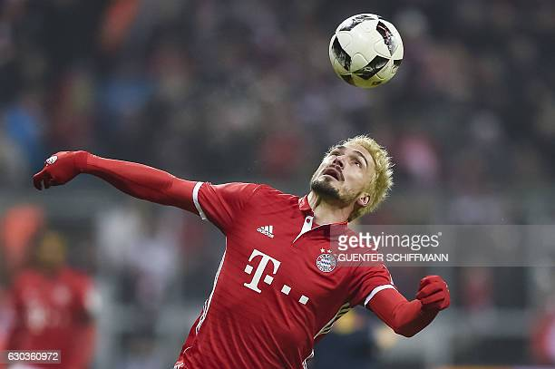 Bayern Munich's German defender Mats Hummels in action during the German first division Bundesliga football match FC Bayern Munich vs RB Leipzig in...