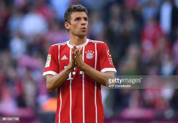 Bayern Munich's German forward Thomas Mueller reacts after the German First division Bundesliga football match FC Bayern Munich vs SC Freiburg in...