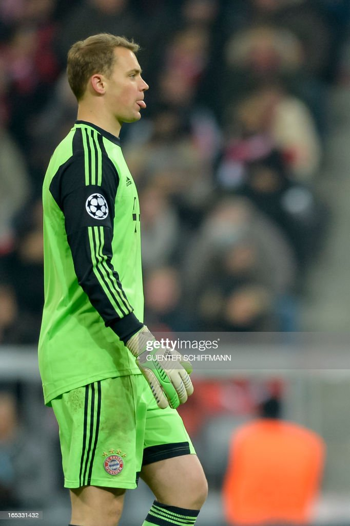 Bayern Munich's German goalkeeper Manuel Neuer is pictured during the UEFA Champions League quarter final match between FC Bayern Munich vs Juventus Turin at the Allianz Arena stadium in Munich, southern Germany, on April 2, 2013.