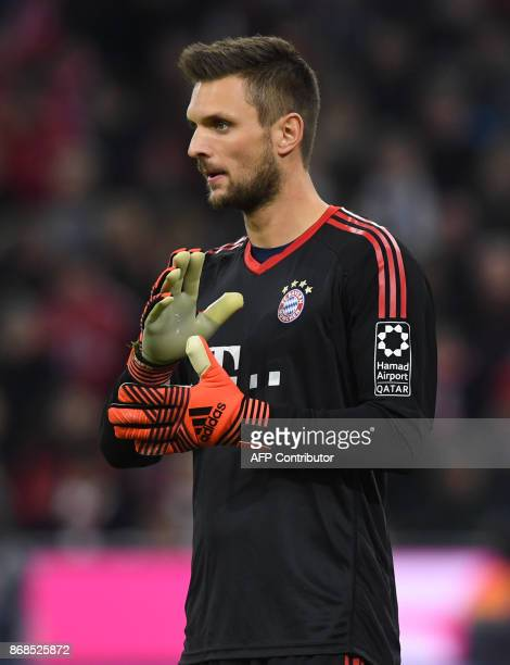 Bayern Munich's German goalkeeper Sven Ulreich gestures during the German first division Bundesliga football match Bayern Munich vs RB Leipzig in...
