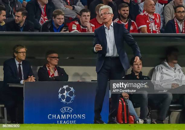 Bayern Munich's German head coach Jupp Heynckes reacts on the sideline during the Champions League group B match between FC Bayern Munich and Celtic...