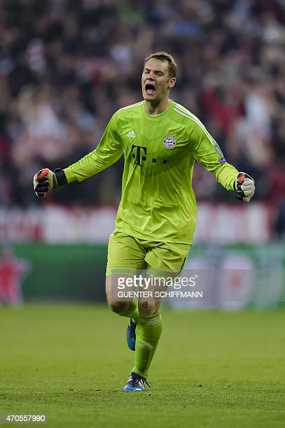 Bayern Munich's German keeper Manuel Neuer reacts after the fifth goal during the UEFA Champions League secondleg quarterfinal football match Bayern...