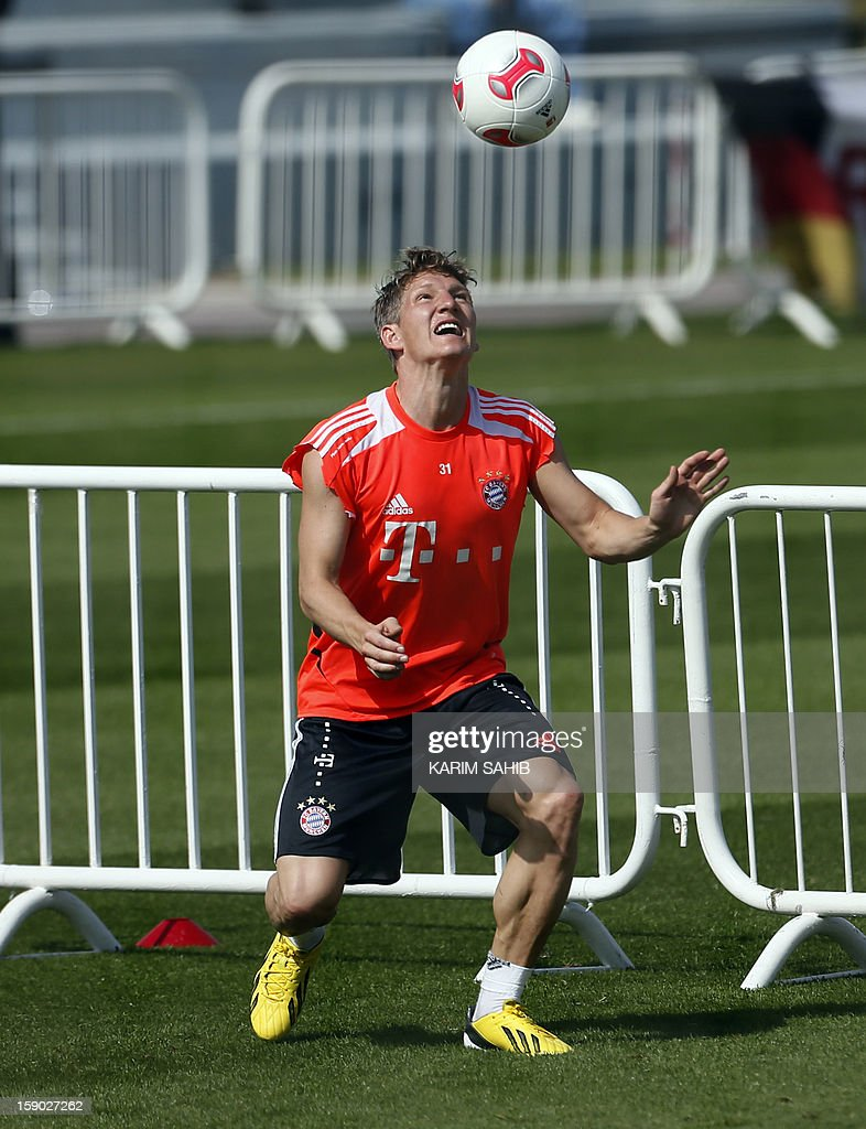 Bayern Munich's German midfielder Bastian Schweinsteiger attends a training session at the Aspire Academy for Sports Excellence in Doha on January 6, 2013. Bayern Munich is in Qatar for a week-long training camp before the beginning of the new season of the German Bundesliga after the winter break.