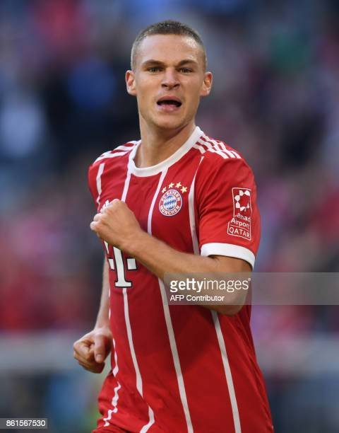Bayern Munich's German midfielder Joshua Kimmich reacts during the German First division Bundesliga football match FC Bayern Munich vs SC Freiburg in...