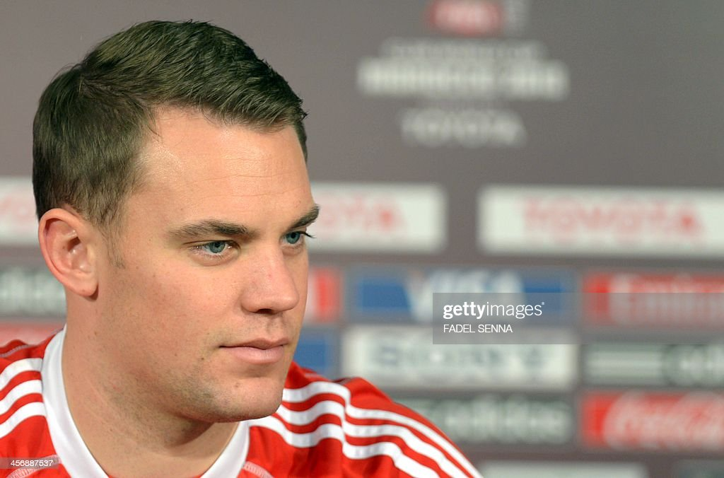 Bayern Munich's goalkeeper Manuel Neuer give a press conference at the FIFA Club World Cup in the coastal Moroccan city of Agadir on December 15, 2013. The regional champions from each of the FIFA regions are gathering in the north African country of Morocco to decide which is the best domestic team in the world. Bayern Munich will play China's Guangzhou Evergrande.