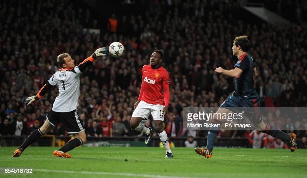 Bayern Munich's goalkeeper Manuel Neuer saves Manchester United's Danny Welbeck shot
