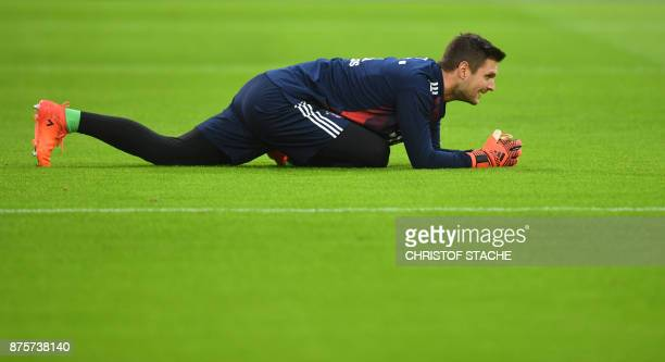 Bayern Munich's goalkeeper Sven Ulreich stretches prior to the German first division Bundesliga football match Bayern Munich vs FC Augsburg in Munich...