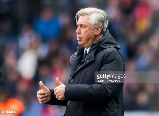 Bayern Munich´s head coach Carlo Ancelotti gestures during the German first division Bundesliga football match between Hertha BSC Berlin and FC...