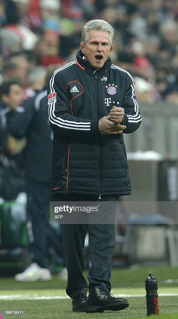 Bayern Munich's head coach Jupp Heynckes reacts during the German first division Bundesliga football match FC Bayern Munich vs Greuther Fuerth in Munich, southern Germany, on January 19, 2013.