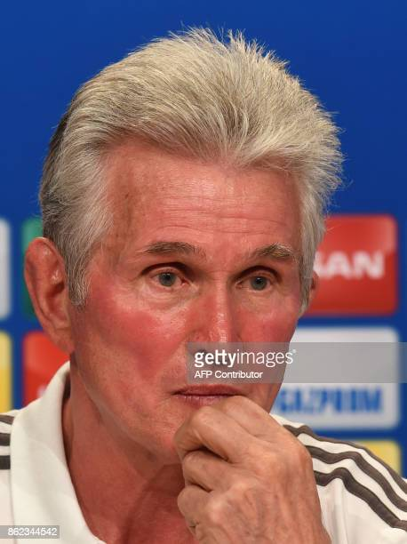 Bayern Munich's headcoach Jupp Heynckes attends a press conference on the eve of the Champions League group B match between Bayern Munich and Celtic...