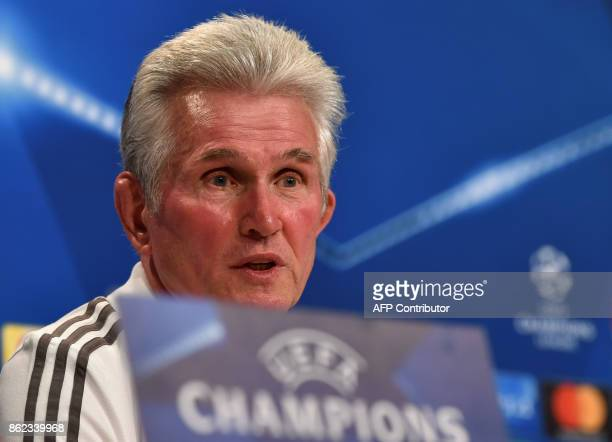 Bayern Munich's headcoach Jupp Heynckes attends the press conference on the eve of the Champions League group B match between Bayern Munich and...