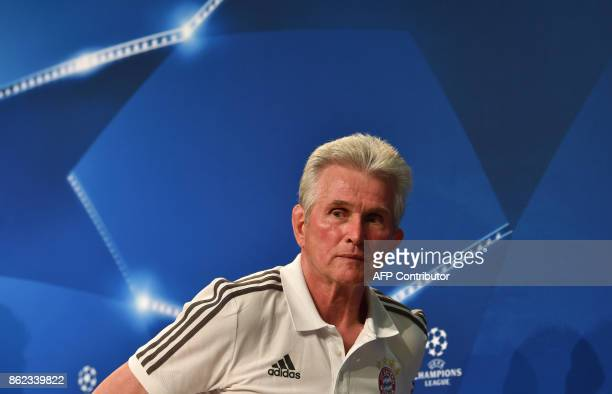 Bayern Munich's headcoach Jupp Heynckes leaves the press conference on the eve of the Champions League group B match between Bayern Munich and Celtic...