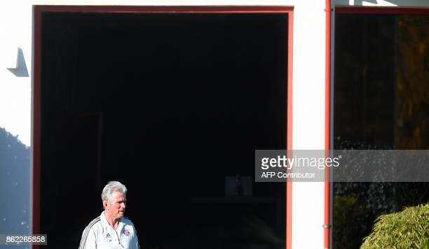 Bayern Munich's headcoach Jupp Heynckes looks on during a training session on the eve of the Champions League group B match between Bayern Munich and...