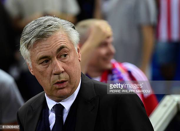 Bayern Munich's Italian coach Carlo Ancelotti looks on before the UEFA Champions League Group D football match Club Atletico de Madrid vs FC Bayern...