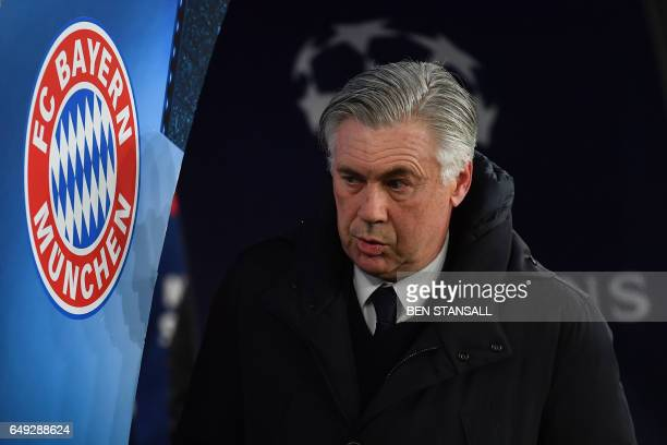 Bayern Munich's Italian head coach Carlo Ancelotti arrives before the UEFA Champions League last 16 second leg football match between Arsenal and...