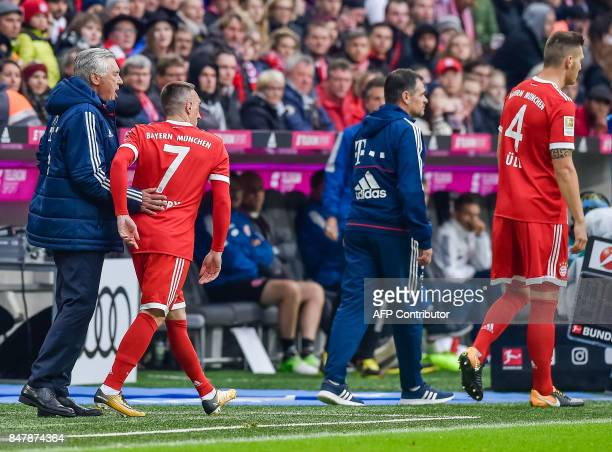 Bayern Munich's Italian head coach Carlo Ancelotti congratulates Bayern Munich's French midfielder Franck Ribery during the German First division...