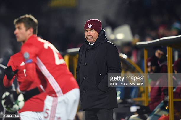 Bayern Munich's Italian head coach Carlo Ancelotti looks on during the UEFA Champions League football match between FC Rostov and FC Bayern Munich at...