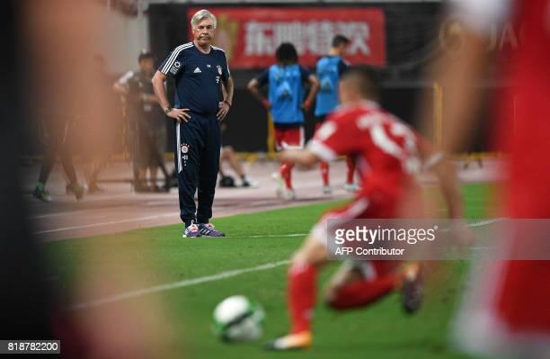 Bayern Munich's Italian head coach Carlo Ancelotti looks on during the International Champions Cup football match between Bayern Munich and Arsenal...