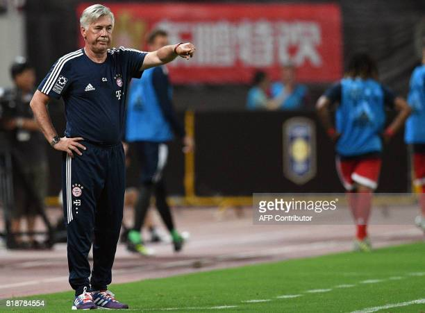 Bayern Munich's Italian head coach Carlo Ancelotti reacts during the International Champions Cup football match between Bayern Munich and Arsenal in...