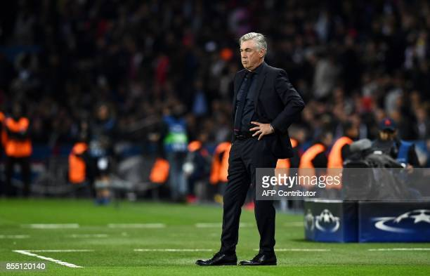 Bayern Munich's Italian head coach Carlo Ancelotti reacts during the UEFA Champions League football match between Paris SaintGermain and Bayern...