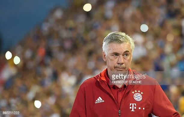 Bayern Munich's Italian headcoach Carlo Ancelotti arrives for the German Cup first round football match between the German first division team Bayern...