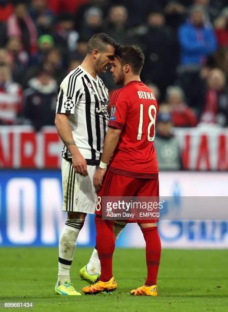 Bayern Munich's Juan Bernat and Juventus' Leonardo Bonucci confront each other