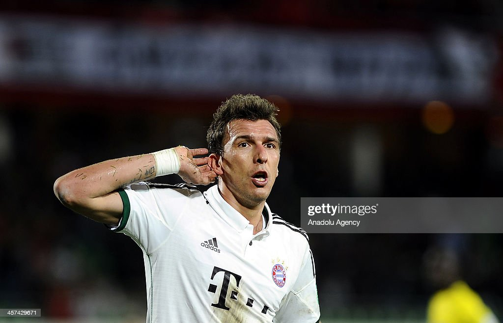 FC Bayern Munichs Mario Mandzukic celebrates after scoring a goal during the FIFA Club World Cup 2013 soccer match between FC Bayern Munich and Guangzhou Evergrande FC on December 2013 in Agadir, Morocco.