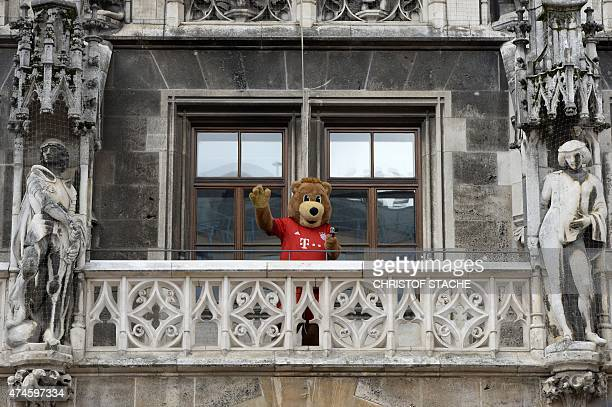 Bayern Munich's mascot waves ahead the celebration of the women and men Bundesliga title as the team celebrates the club's 25th Bundesliga title on...