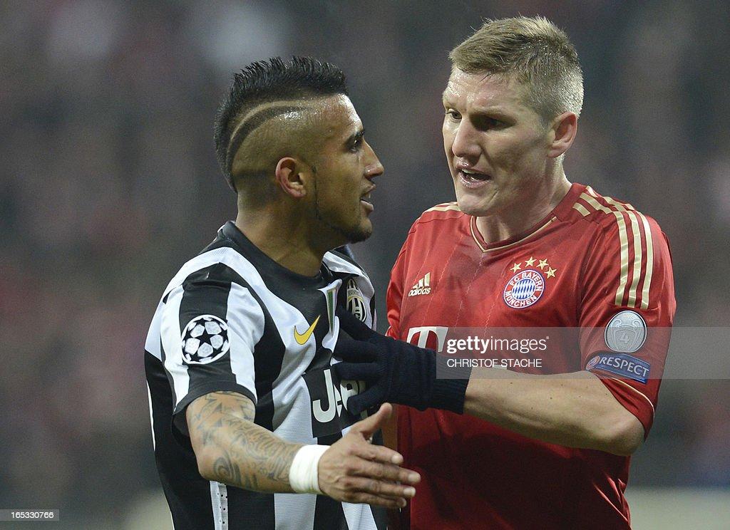 Bayern Munich's midfielder Bastian Schweinsteiger (R) argues with Juventus' Chilean midfielder Arturo Vidal (L) during the UEFA Champions League quarter final football match FC Bayern Munich vs Juventus Turin in Munich, southern Germany, on April 2, 2013. AFP PHOTO / CHRISTOF STACHE