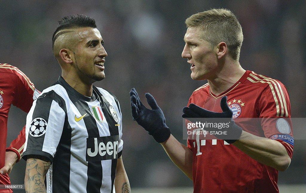 Bayern Munich's midfielder Bastian Schweinsteiger (R) argues with Juventus' Chilean midfielder Arturo Vidal during the UEFA Champions League quarter final football match FC Bayern Munich vs Juventus Turin in Munich, southern Germany, on April 2, 2013.