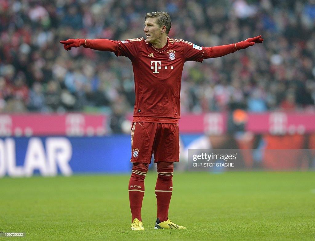 Bayern Munich's midfielder Bastian Schweinsteiger gestures during the German first division Bundesliga football match FC Bayern Munich vs Greuther Fuerth in Munich, southern Germany, on January 19, 2013.