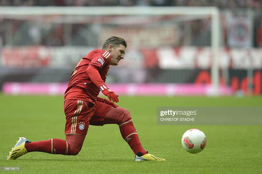 Bayern Munich's midfielder Bastian Schweinsteiger plays the ball during the German first division Bundesliga football match FC Bayern Munich vs Greuther Fuerth in Munich, southern Germany, on January 19, 2013.