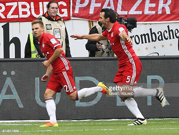 Bayern Munich's midfielder Joshua Kimmich celebares after scoring the 21 goal during the German first division Bundesliga football match between...