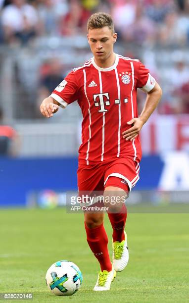 Bayern Munich's midfielder Joshua Kimmich plays the ball during the third place Audi Cup football match between SSC Napoli and Bayern Munich in the...