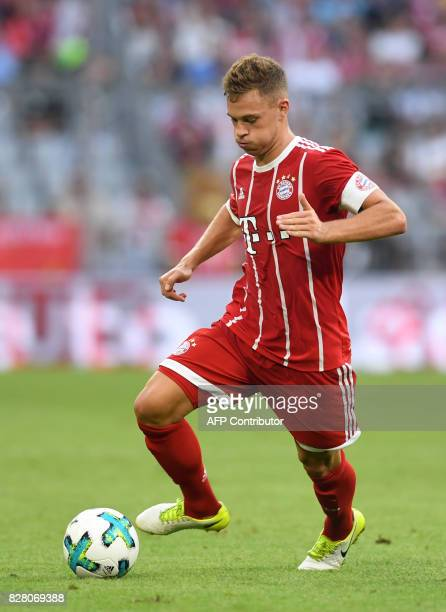 Bayern Munich's midfielder Joshua Kimmich vie for the ball during the third place Audi Cup football match between SSC Napoli and Bayern Munich in the...
