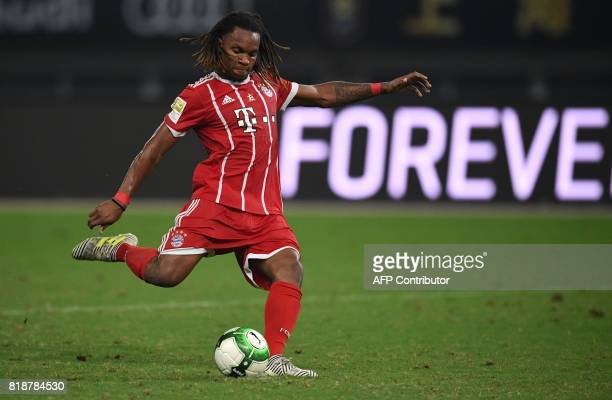 Bayern Munich's midfielder Renato Sanches misses to score during penalty shootout during the International Champions Cup football match between...