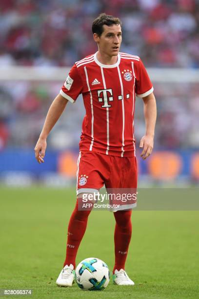 Bayern Munich's midfielder Sebastian Rudy gestures during the third place Audi Cup football match between SSC Napoli and Bayern Munich in the stadium...