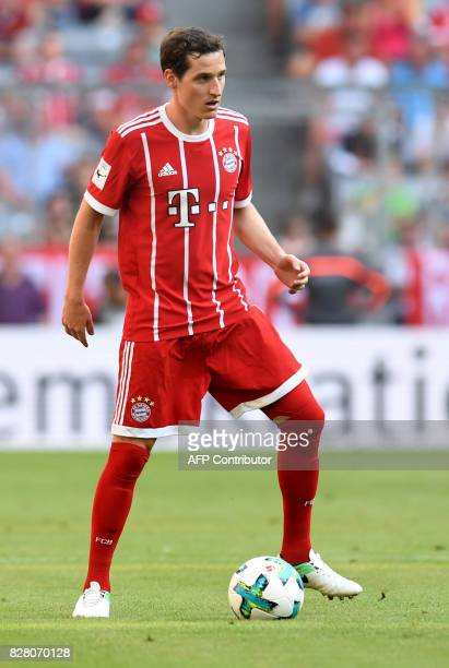Bayern MunichÕs midfielder Sebastian Rudy plays the ball during the third place Audi Cup football match between SSC Napoli and Bayern Munich in the...