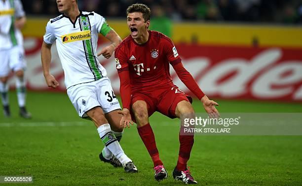 Bayern Munich's midfielder Thomas Mueller reacts during the German first division Bundesliga football match Moenchengladbach vs Bayern Munich in...