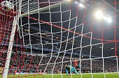 Bayern Munich's midfielder Thomas Mueller scores the 51 goal past Arsenal's Czech goalkeeper Petr Cech during the UEFA Champions League Group F...