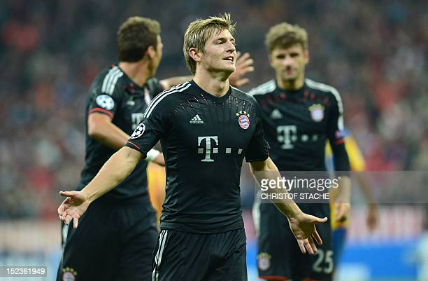 Bayern Munich's midfielder Toni Kroos celebrates scoring during the UEFA Champions League group F football match FC Bayern Munich vs Valencia CF in...