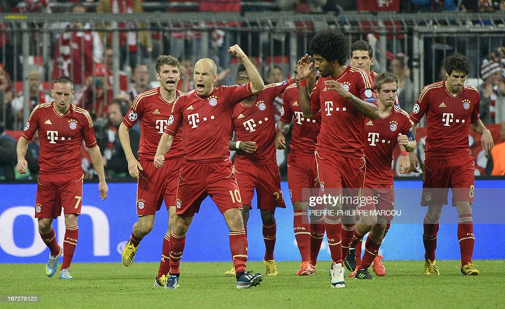 Bayern Munich's players celebrate after scoring the 1-0 during UEFA Champions League semi final first leg football match between FC Bayern Munich and FC Barcelona on April 23, 2013 in Munich, southern Germany.