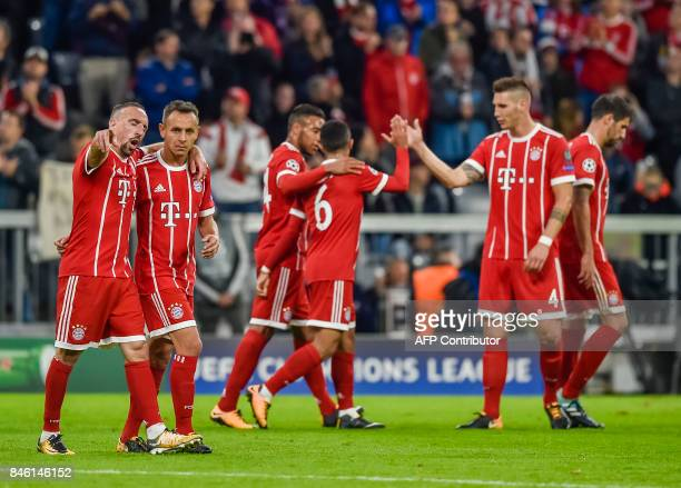 Bayern Munich's players celebrate the second goal during the Champions League group B match between Bayern Munich and RSC Anderlecht in Munich...