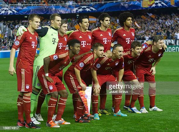 Bayern Munich's players defender Holger Badstuber goalkeeper Manuel Neuer midfielder Toni Kroos Peruvian striker Claudio Pizarro Spanish midfielder...