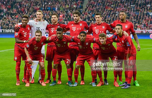 Bayern Munich's players pose for the team photo prior to the UEFA Champions League Group F secondleg football match between FC Bayern Munich and...