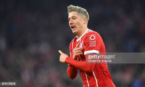 Bayern Munich's Polish forward Robert Lewandowski celebrates after the second goal for Munich during the German first division Bundesliga football...
