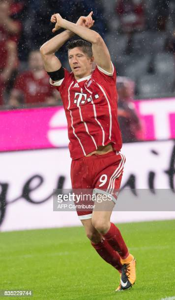 Bayern Munich's Polish forward Robert Lewandowski celebrates scoring the 30 goal during the German First division Bundesliga football match FC Bayern...
